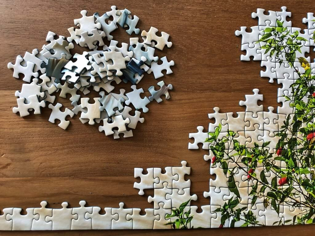 Partially assembled puzzle