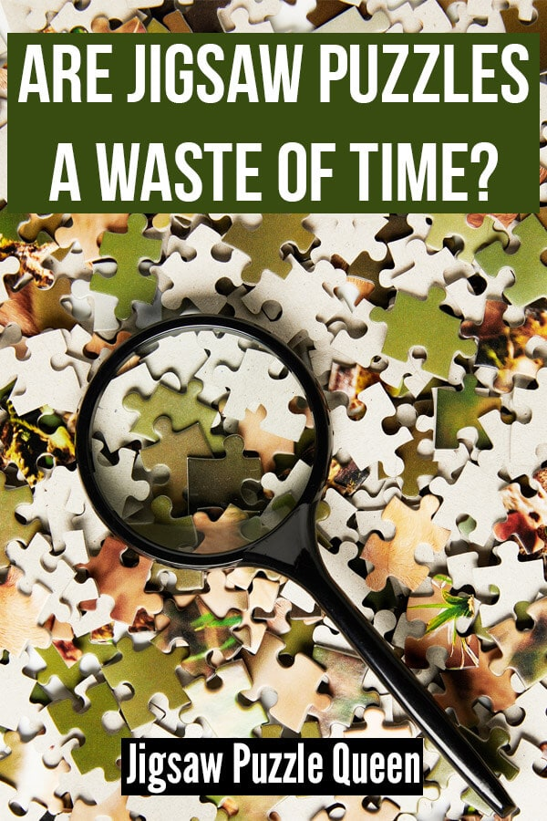 Jigsaw puzzle pieces with a magnifier and a text overlay: Are Jigsaw Puzzles a Waste of Time?