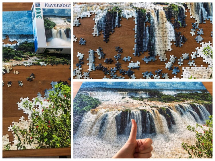View of a Ravensburger puzzle of waterfalls