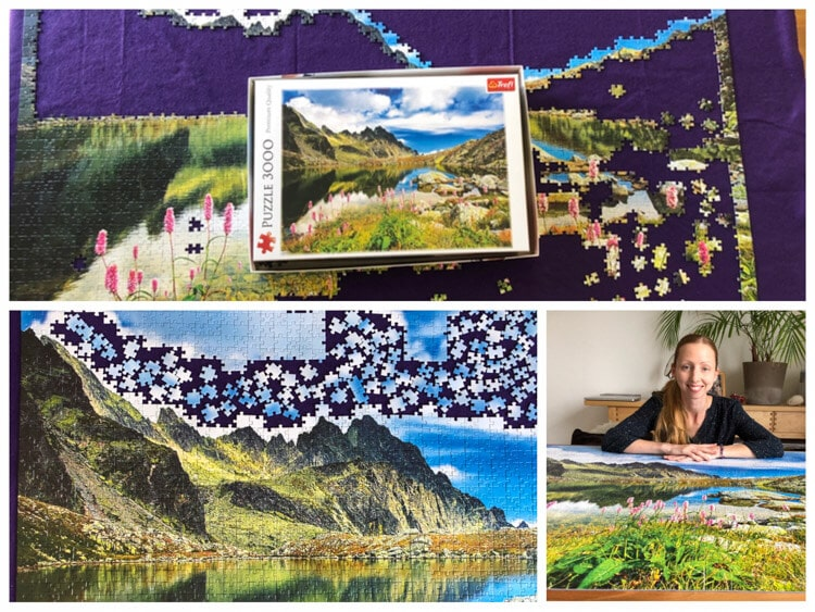 Process of completing a puzzle of a mountain scene