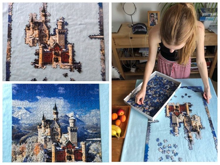 Gradual finishing of a puzzle of Neuschwanstein Castle in Germany