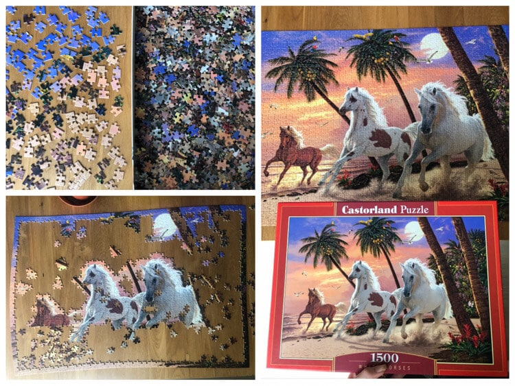Solving a jigsaw puzzle of horses on a beach