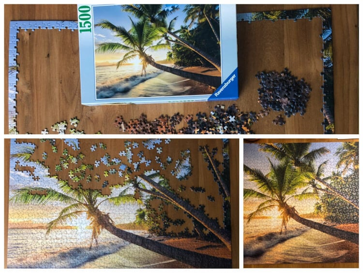 Working on a puzzle of a beach scene