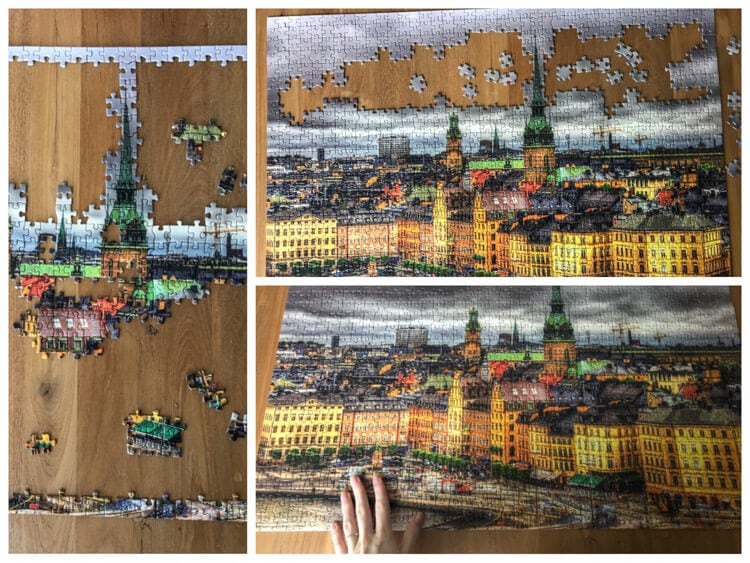 Finishing a puzzle with a scene from Stockholm