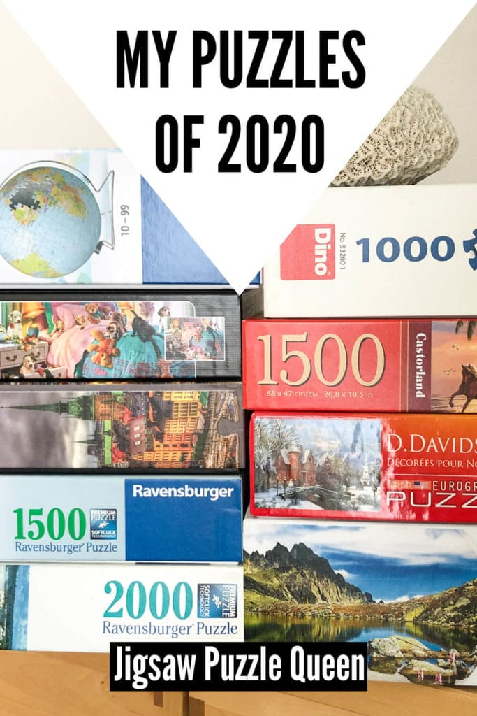Stack of jigsaw puzzle boxes with text overlay: My Puzzles of 2020