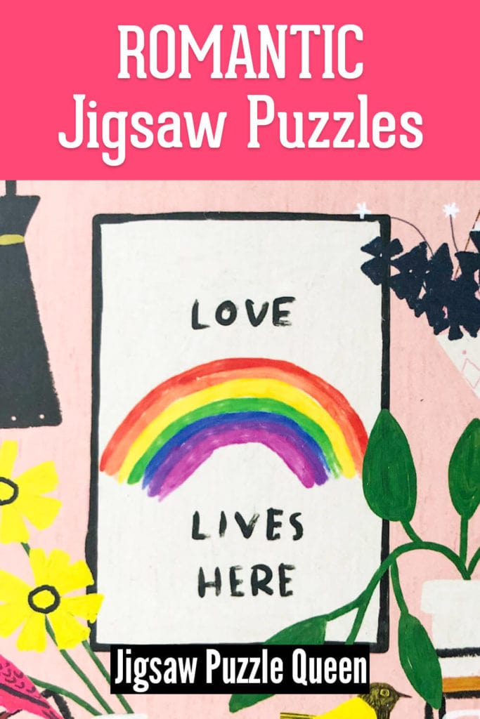View of a puzzle box with text overlay: Romantic Jigsaw Puzzles