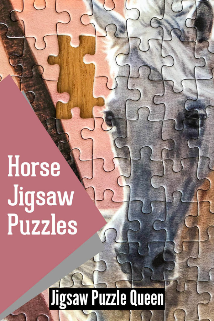 a closeup of a horse puzzle with a text overlay: Horse Jigsaw Puzzles