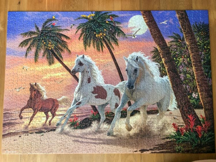 A finished jigsaw puzzle featuring horses on a beach
